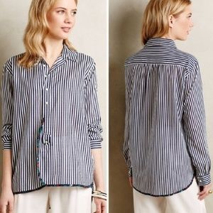 Anthropologie Holding Horses striped floral blouse